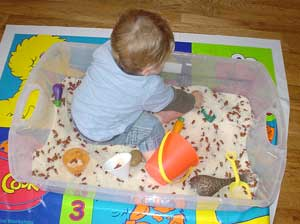Child in sensory bin