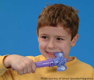 Child using oral vibrator