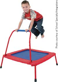 Child on mini-trampoline